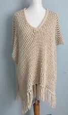 Topshop Knitted Slubby Tassel Cape Size S/M