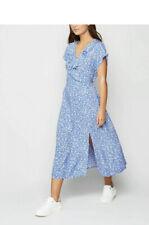 New Look Midi Dress Plus Size 12 Floral Ruffle Trim Print Frill Cap Sleeve Blue