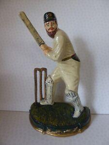 """Cricketer - Cricket Player Batsman - 11"""" Painted Cast Iron Door Stop"""