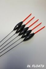 5x `DL` HAND MADE POLE FLOATS  `Carbon Slims`  0.4g Red 1.5mm Tips `Side Eyes`