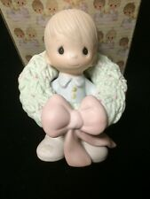 "1983 Precious Moments Figurine ""Surrounded With Joy"" Fish Mark E-0506 Mib"