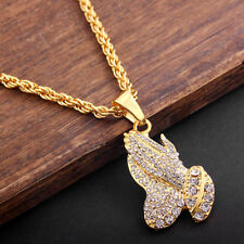 "Men's Jewelry Hip Hop Praying Hands Pendant Inlaid Crystal 28"" Gold Metal Chain"