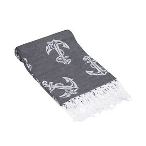 Anchors Beach Towel, Sand Free Soft Absorbent 100% Cotton Large Beach Cover