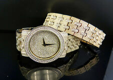 Iced Watch with Simulated diamonds and Designer bracelet over Brass  Gold finish