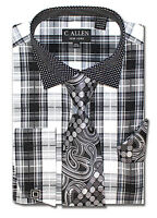C. Allen Mens Dress shirt Tie Combo French cuff Plaid Checks Black