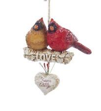 Kurt Adler Pair of Love Cardinals Sitting On Birch Branch Christmas Ornament
