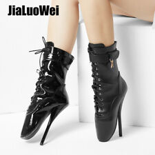 """Womens 7"""" Super High Spike Heel Lace-Up Sexy Ankle Ballet Boots Black Size 5-15"""