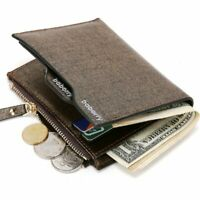 Men Leather Wallet ID, Credit Card Holder Clutch Bifold Pocket Zipper Coin Purse
