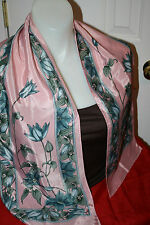 SILKY PINK SCARF WITH MORNING GLORY FLOWERS-NICE COND.54 by 10 inches