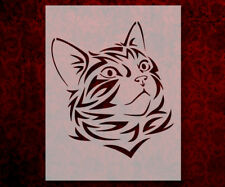 "Cat Head Face Tribal 8.5"" x 11"" Stencil FAST FREE SHIPPING (528)"