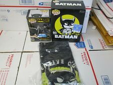 FUNKO POP TEES BATMAN SMALL T SHIRT AND FIGURE NEW IN OPEN BOX, BOX WEAR
