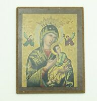 """Virgin Mary Quick to Hear Madonna and Child Russian Small Wooden Icon 6 1/4"""""""