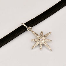 Crystal Snowflake/Star Pendant Black Leather Choker Necklace For Women Statement