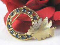 Vintage Dazzling Blue Rhinestone Brooch Pin CAT RESCUE