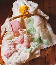 Baby Bonnet Mitten Bootee Set  6/12 mth~ Pram Blanket DK Knitting Pattern