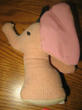 Vintage 1960's Darling TINY Pink Corduroy ELEPHANT Infant BABY Toy, RARE Find!