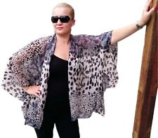 NEW Kimono Style Jacket Chiffon Plus Size Kaftan Top Animal Print Leopard Grey