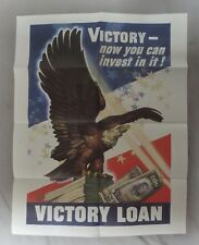VICTORY LOAN, ORIGINAL 1945 Dated WW2 Vintage AMERICAN EAGLE POSTER US GPO 22x28