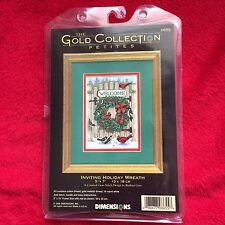 Dimensions The Gold Collection Petites Inviting Holiday Wreath Cross Stich RARE