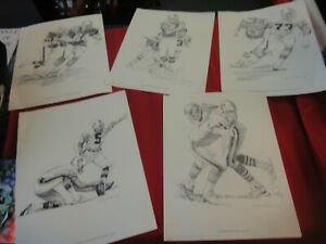 5 lot Nick Galloway MIAMI DOLPHINS FOOTBALL PLAYERS SKETCH 1981 Shell Oil PROMO
