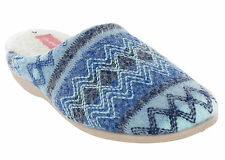 Dunlop Mule Knitted Fur Lined Womens Agace Slip on Winter Slippers UK 3-8 Blue UK 8