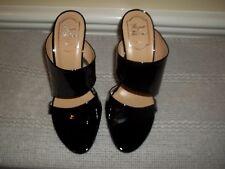 New Roger Vivier Black Patent Leather Strappy Wedge Heel Slides Shoes 7 (Eur 37)