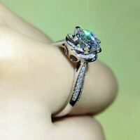 2Ct Round Cut Sparkle Moissanite Solitaire Engagement Ring 925 Sterling Silver