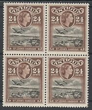 ANTIGUA 1953 QEII AIRPLANE ST JOHNS 24C MNH ** BLOCK
