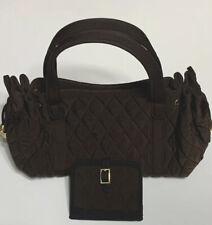 Pre-Owend Vera Bradley brown quilted satchel. Size Small Hadbag.