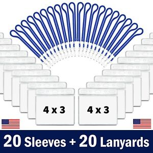20-Pk CDC Vaccination Card Protector 4x3 Holder Clear Sleeve w/ 20 Blue Lanyards