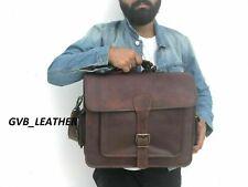 Shoulder Compartment Bag Genuine Leather Laptop Messenger Briefcase Satchel