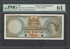 Fiji One Dollar ND (1954-67) P53cts Specimen Color Trial  Uncirculated