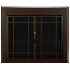 Glass Fireplace Door Double-Panel Tempered Tinted Surface-Mount Durable Bronze