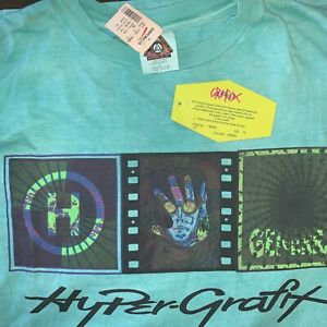 Generra Hypercolor Hyper Grafix XL Turquoise T Shirt 2005 Made In Brazil NWT
