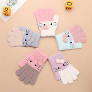 Kids Gloves Full Fingers Knitted Gloves Winter Warm Mittens for Boys and Girls~