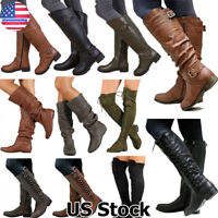 Womens Winter Mid Calf Block Heel Boots Ladies Chunky Buckle Slip On Shoes Size