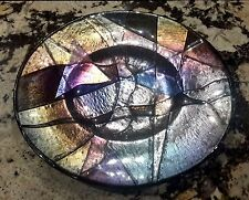 "GORGEOUS HUGE 19"" FUSED GLASS PLATE PLATTER BOWL ART SCULPTURE BY TIM HARLAN"