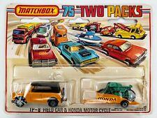 1977 Matchbox Two Packs TP-8 Field Car & Honda Motor Cycle / 4-SP WHL / BLK ROOF