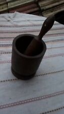 PRIMITIVE ANTIQUE OLD WOODEN MORTAR WITH PESTLE FOR SPICES