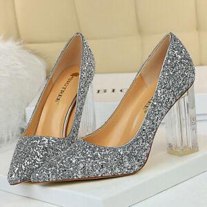 Women's transparent Shoes Pumps Glitter Pointed Toe High Block Heel Dress Party