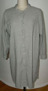 Women's Eileen Fisher SZ XL Striped Tunic Shirtdress Cotton Mandarin Collar L/S