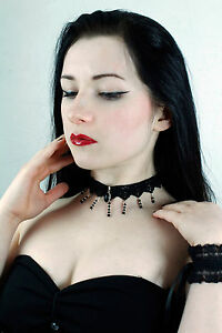 Jet BLACK ONYX  lace gothic CHOKER necklace goth victorian steampunk ANGELIQUE