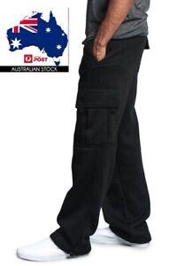 Men's Unisex Cargo Fleece Lined Casual Jogging Sports Gym Track Suit Sweat Pants