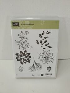 "Stampin Up! ""WATERCOLOR WINTER"" Stamp Set, Cling Mount, 129727"
