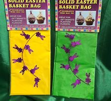 """CLEAR Easter Bunny Gift BASKET BAG with Purple Wire Ties Cellophane 20"""" x 30"""""""