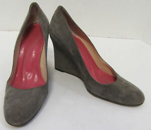 KATE SPADE Grey Suede Wedges  with Signature Pink Interior Size 6.5
