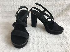 Salvatore Ferragamo Gina Platform High Heel Sandals Black Suede 7 B/37.5 $750