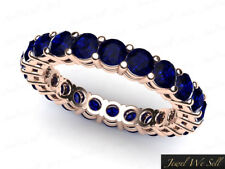 Genuine 2.60Ct Round Cut Sapphire Gallery Eternity Band Ring 14k Rose Gold AAAA
