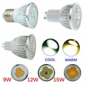 1PC E27/E14/GU10/MR16 LED Spotlight 9W 12W 15W Bulb SMD/COB Lamp Light