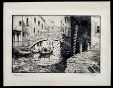 ANTIQUE Vintage VENICE ITALY Gondola Bridge SIGNED Etching Engraving Print